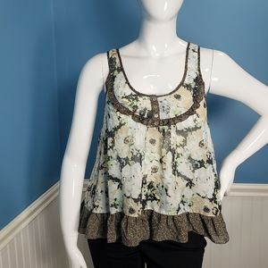 Living Doll blouse tank top floral ruffle sz Large